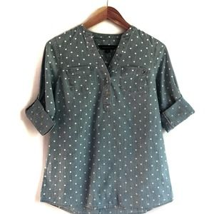 Tommy Hilfiger button down chambray polka dot
